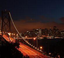 Bay Bridge at night 2 by Johan Lindstrom