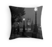 Houses of Parliament in the rain Throw Pillow
