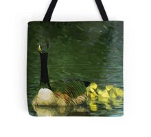 Canada Goose and Goslings Abstract Impressionism Tote Bag