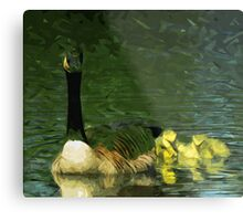 Canada Goose and Goslings Abstract Impressionism Metal Print