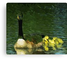 Canada Goose and Goslings Abstract Impressionism Canvas Print