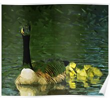 Canada Goose and Goslings Abstract Impressionism Poster