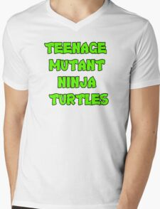 Teenage Mutant Ninja Turtles Words Mens V-Neck T-Shirt