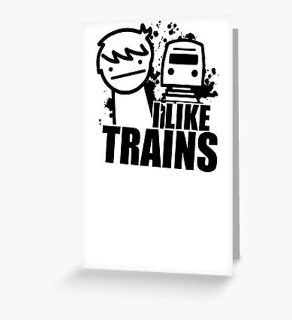 ASDF T-Shirt I Like Trains  Greeting Card