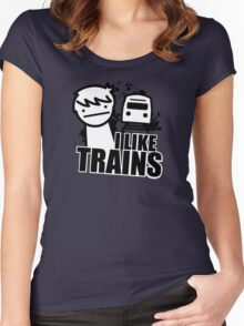 ASDF T-Shirt I Like Trains  Women's Fitted Scoop T-Shirt