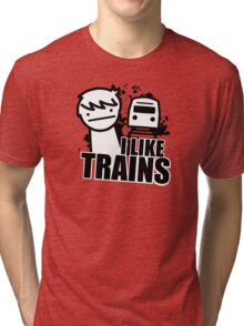 ASDF T-Shirt I Like Trains  Tri-blend T-Shirt