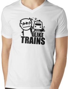 ASDF T-Shirt I Like Trains  Mens V-Neck T-Shirt