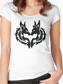 Tribal Wolves Couple Women's Fitted Scoop T-Shirt