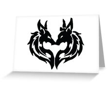 Tribal Wolves Couple Greeting Card