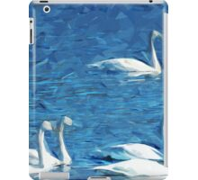 Flock of Trumpeter Swans Abstract Impressionism iPad Case/Skin
