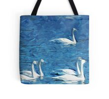 Flock of Trumpeter Swans Abstract Impressionism Tote Bag