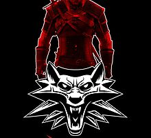 Geralt and Wolf medallion The Witcher (white text) by DCornel