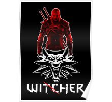 Geralt and Wolf medallion The Witcher (white text) Poster