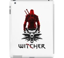 Geralt and Wolf medallion The Witcher (black text) iPad Case/Skin