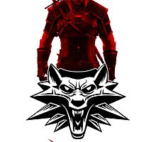 Geralt and Wolf medallion The Witcher (black text) by DCornel