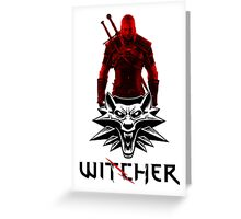 Geralt and Wolf medallion The Witcher (black text) Greeting Card