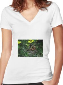 Spider and Droplets Women's Fitted V-Neck T-Shirt