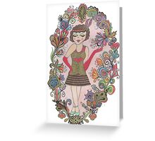 Art Deco Style Flapper Girl Greeting Card