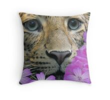 my leopard  looking a bit happier Throw Pillow