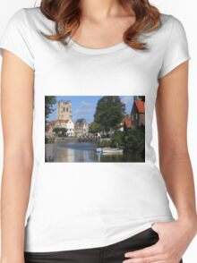 Tranquil Village Scene Women's Fitted Scoop T-Shirt