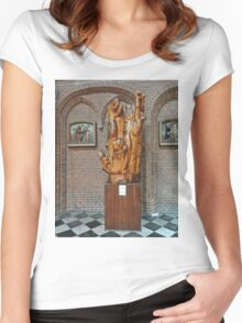 Statue, St Baafskathedral, Ghent, Belgium Women's Fitted Scoop T-Shirt