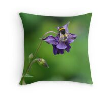 Aquilegia & Bumble Bee Throw Pillow