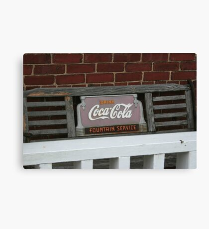 Old fashion bench advertising  Canvas Print