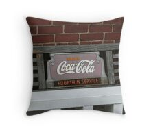 Old fashion bench advertising  Throw Pillow