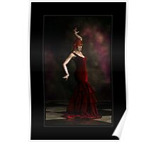 Flamenco Dancer Red with Border Poster