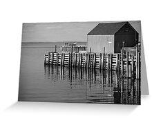 Hall's Harbour Wharf (B&W) Greeting Card