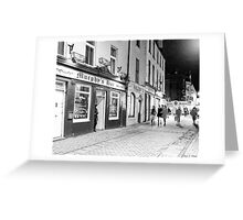 Outside A Pub At Night In Galway Ireland Greeting Card