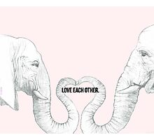 Elephant Love - Bold Text Photographic Print