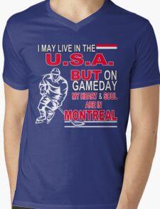 Heart & Soul in Montreal (blue) Mens V-Neck T-Shirt