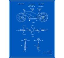 Tandem Bicycle Patent - Blueprint Photographic Print