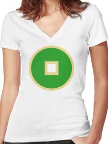 Minimalist Earth Kingdom Emblem Women's Fitted V-Neck T-Shirt