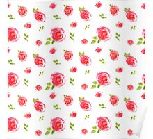 red watercolor roses Poster