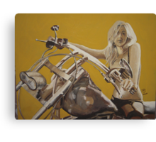 Biker chick on Chopper by JennyA Canvas Print