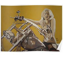 Biker chick on Chopper by JennyA Poster