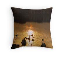 swan family sunrise Throw Pillow