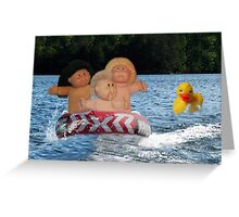 WEEE > SPLISH SPLASH CABBAGE PATCH KIDS (DOLLS) AND DUCK HAVING FUN IN THE WATER Greeting Card