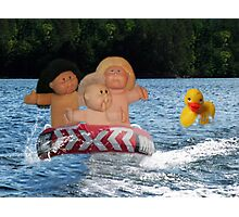 WEEE > SPLISH SPLASH CABBAGE PATCH KIDS (DOLLS) AND DUCK HAVING FUN IN THE WATER Photographic Print