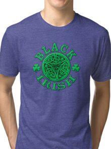 BLACK IRISH with Celtic Art Tri-blend T-Shirt
