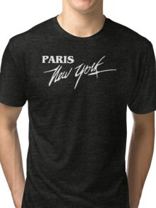 Paris NY - White Text Tri-blend T-Shirt