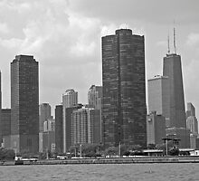 CHICAGO SKYLINE LOOKING NORTHWEST FROM LAKE MICHIGAN by DRON