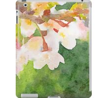 White Cherry Blossoms Digital Watercolor Painting 2 iPad Case/Skin