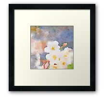 White Cherry Blossoms Digital Watercolor Painting 3 Framed Print