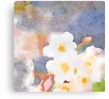 White Cherry Blossoms Digital Watercolor Painting 3 Canvas Print