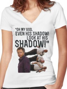 LOOK AT HIS SHADOW! Women's Fitted V-Neck T-Shirt