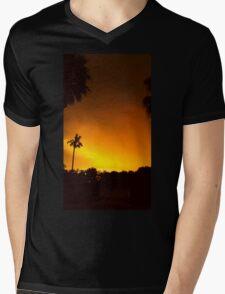 Erie Fiery Sunset Mens V-Neck T-Shirt