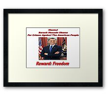 Barack Obama Wanted Poster Design Framed Print